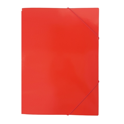 Picture of Cardboard File with rubber band, UV coating, 350 g/m2, red