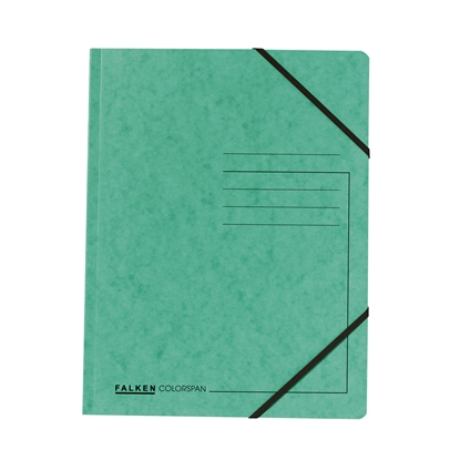 Picture of Falken Folder A4, strong cardboard, with elastic strap, 320 g/m2, green