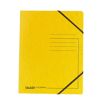 Picture of Falken Folder A4, strong cardboard, with elastic strap, 320 g/m2, yellow