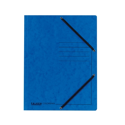 Picture of Falken 3-Flap Folder A4, cardboard, with elastic strap, blue