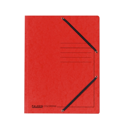 Picture of Falken 3-Flap Folder A4, cardboard, with elastic strap, red