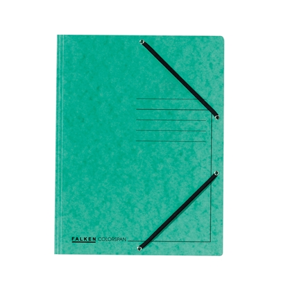 Picture of Falken 3-Flap Folder A4, cardboard, with elastic strap, green