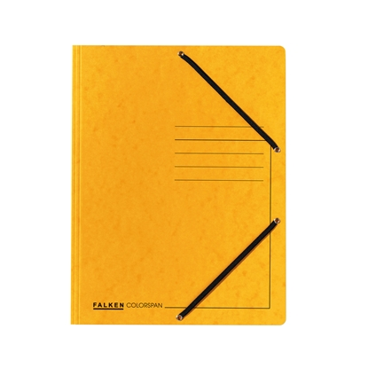 Picture of Falken 3-Flap Folder A4, cardboard, with elastic strap, yellow