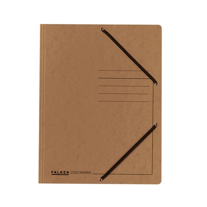 Picture of Falken 3-Flap Folder A4, cardboard, with elastic strap, brown