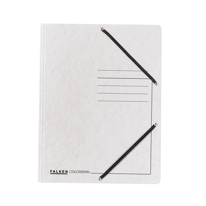 Picture of Falken 3-Flap Folder A4, cardboard, with elastic strap, white