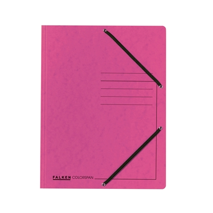 Picture of Falken 3-Flap Folder A4, cardboard, with elastic strap, pink