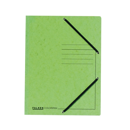 Picture of Falken 3-Flap Folder A4, cardboard, with elastic strap, light green