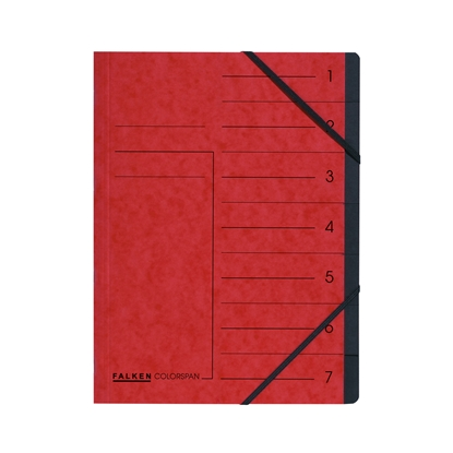 Picture of Falken  File with elastic straps and 7 dividers, cardboard, red