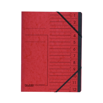 Picture of Falken Cardboard file, with elastic straps and 12 compartments, red