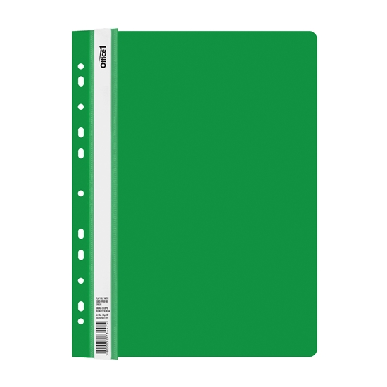 Picture of Office 1 Superstore PP Flat File with Euro perforation, green, 12 pcs.