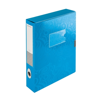 Picture of Panta Plast PP Tai Chi Document Box A4, with removable label, 5.5 cm, blue