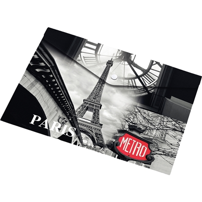 Picture of Panta Plast Envelope folder Paris Collection, PP, with a button, A5