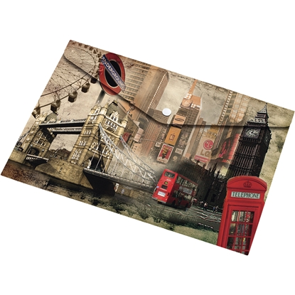 Picture of Panta Plast Envelope London Collection, PP, with a button, A5