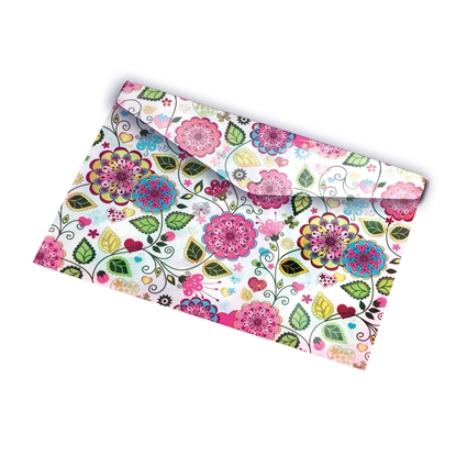 Picture of Panta Plast Envelope folder Flowers Collection, PP, with a button, A5