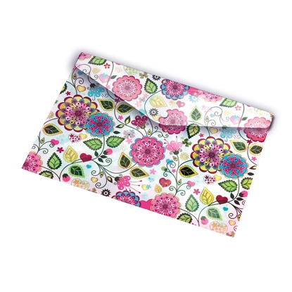 Picture of Panta Plast Envelope folder Flowers Collection, PP, with a button, A4
