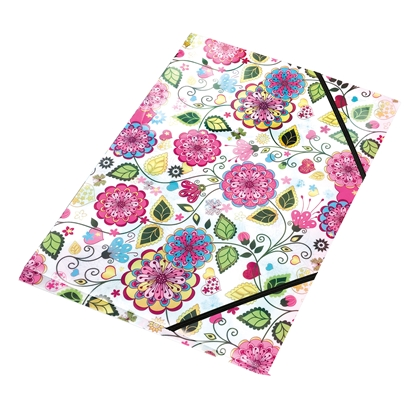 Picture of Panta Plast Action case Flowers Collection, PP, with elastic straps, 3 flaps, A4