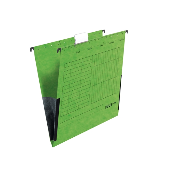 Picture of Falken Suspension File,  cardboard, with gusset, green, 5 pcs.
