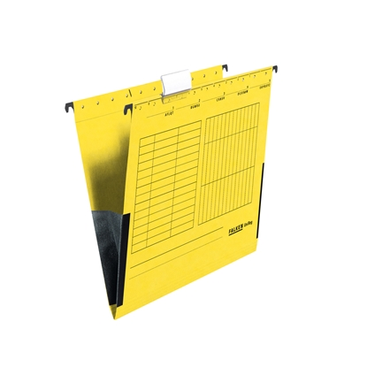 Picture of Falken Suspension File,  cardboard, with gusset, yellow, 5 pcs.