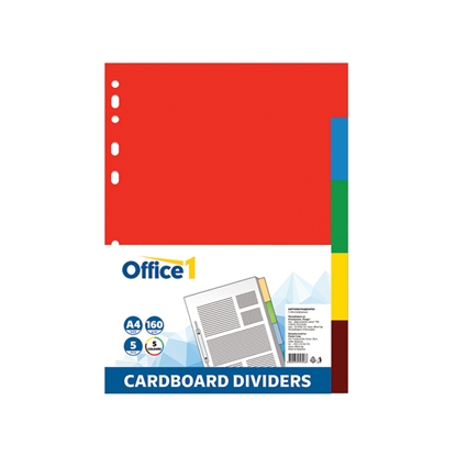 Picture of Office 1 Superstore Cardboard Dividers, A4, 160 g/m2, coloured, 5 pcs.
