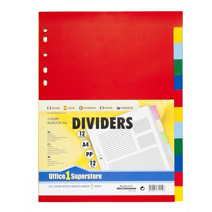 Picture of Office 1 Superstore PP Dividers A4, colours, 12 pcs.