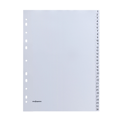 Picture of Office 1 Superstore PP Dividers A4, with numbers, 31 pcs.