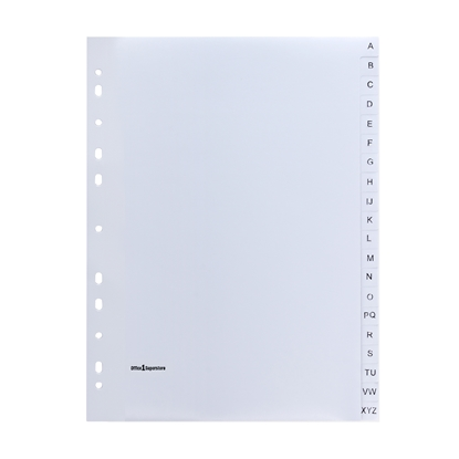 Picture of Office 1 Superstore PP Dividers A4, with the English alphabet
