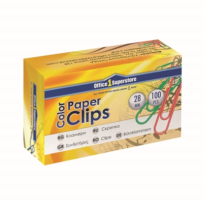 Picture of Office 1 Superstore Paper Clips, 28 mm, coloured, 100 pcs.
