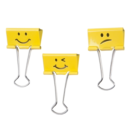 Picture of Rapesco Binder clips Emoji, 19 mm, yellow, 20 pcs