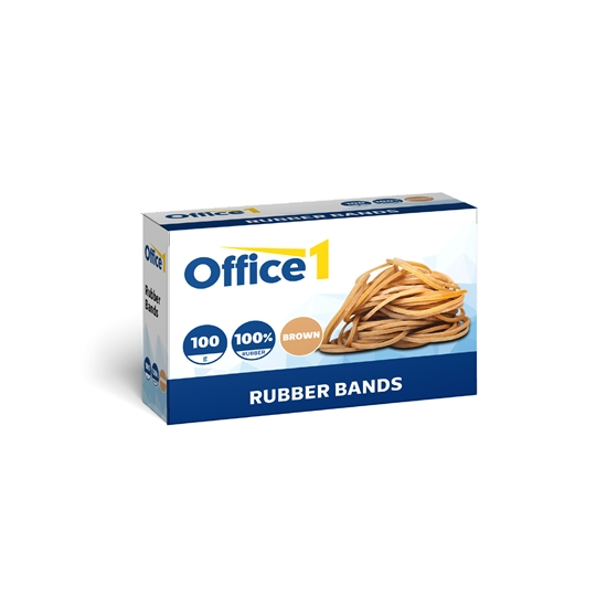 Picture of Office 1 Superstore Rubber Bands, 100% rubber, 100 g, in blister, brown