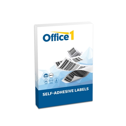 Picture of Office 1 Superstore Self-adhesive Labels with straight corners, A4, 63.5 x 72 mm, 100 sheets