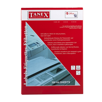 Picture of Tanex self-adhesive labels, A4, 63.5 x 72 mm, right angles, 100 sheets