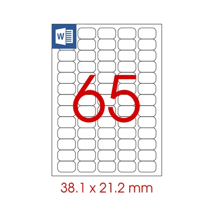 Picture of Tanex Self-adhesive Labels A4, 38.1 x 21.2 mm, transparent, 25 sheets