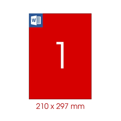 Picture of Tanex Self-adhesive Labels A4, 210 x 297 mm, red, 25 sheets