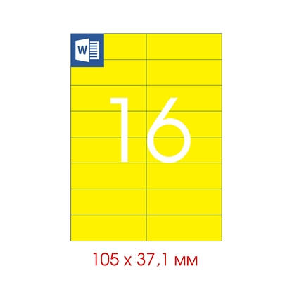 Picture of Tanex Self-adhesive Labels A4, 105 x 37.125 mm, yellow, 16 pcs., 25 sheets