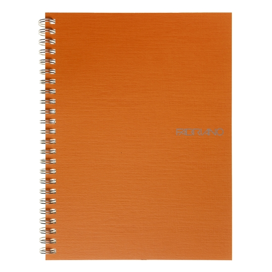 Picture of Fabriano Notebook, A5,  lined, offset paper, with metal spiral, soft covers, 70 sheets, orange