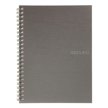 Picture of Fabriano Notebook, A5,  lined, offset paper, with metal spiral, soft covers, 70 sheets, grey