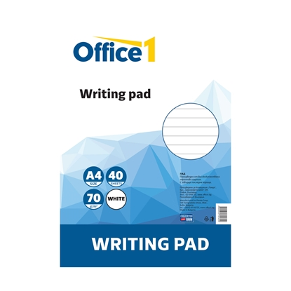 Picture of Office 1 Superstore Writing Pad, A4, lined, white sheets, soft covers, 40 sheets