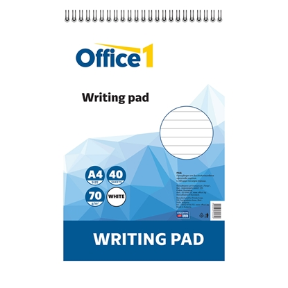 Picture of Office 1 Superstore Writing Pad, A4, lined, white sheets, spiral binding, soft covers, 40 sheets