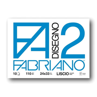 Picture of Fabriano sketchbook for painting Disegno 2, 24 x 33 cm, 110 g/m2, smooth, glued, soft cover, 10 sheets