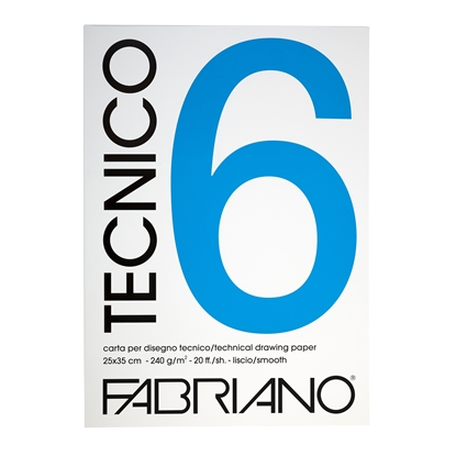 Picture of Fabriano writing pad for painting Tecnico, A4, 220 g/m2, smooth, glued, 20 sheets