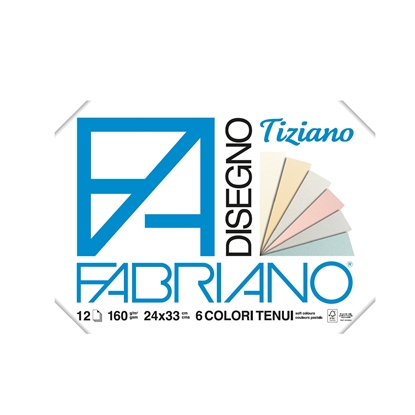 Picture of Fabriano writing pad for painting Tiziano, 24 x 33 cm, 160 g/m2, pastels colors, rough, with angles, 6 colors, 12 sheets