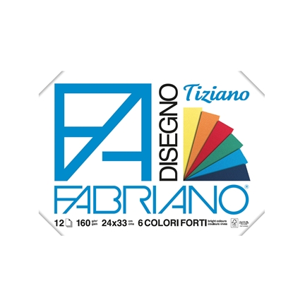 Picture of Fabriano writing pad for painting Tiziano, 24 x 33 cm, 160 g/m2, deep colors, rough, with angles, 6 colors, 12 sheets