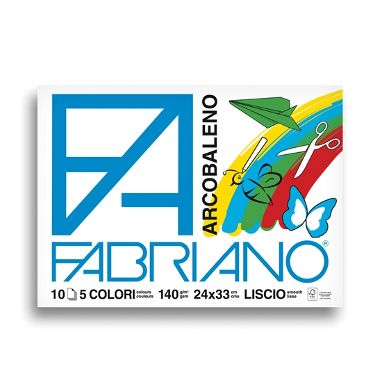 Picture of Fabriano sketchbook for painting Arcobaleno, 24 x 33 cm, 140 g/m2, color sheets, rough, 5 colors, 10 sheets