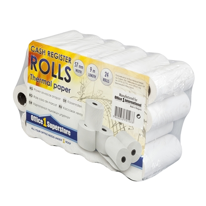 Picture of Office 1 Superstore Cash Register Rolls, thermal, 57 mm/9 m, 24 pcs.