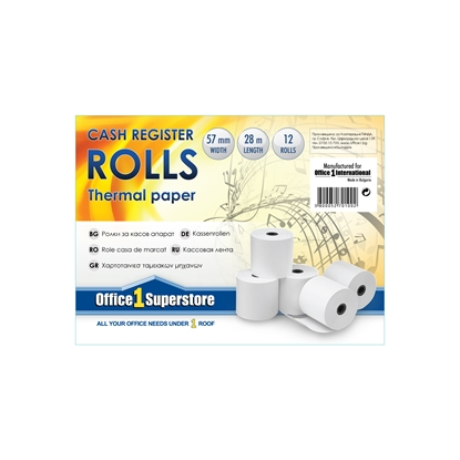 Picture of Office 1 Superstore Cash Register Rolls, thermal, 57 mm/28 m, 12 pcs.