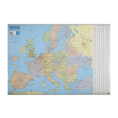 Picture of DataMap Wall Road Map of Europe, 100 x 70 cm, laminated, scale 1:5 000 000