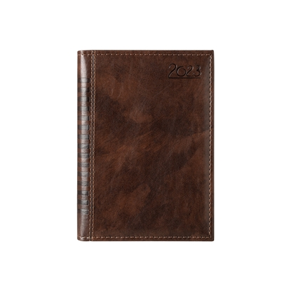 Picture of Calendar-Notepad Maderra, with dates, A5, leather binding, brown