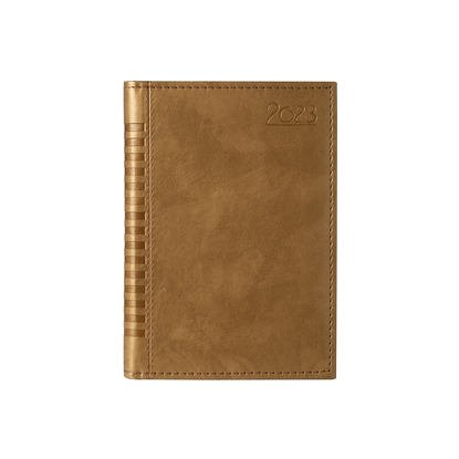 Picture of Calendar-Notepad Maderra, with dates, A5, leather binding, color gold