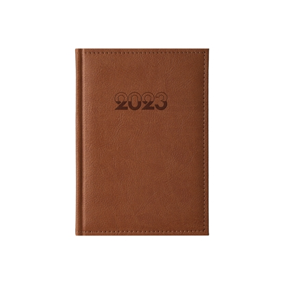 Picture of Calendar-Notepad Europe, with dates, A5, leather binding, brown