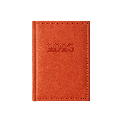 Picture of Calendar-Notepad Casanova, with dates , 10 x 15 cm, leather binding, orange